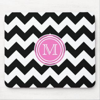 Monogram: Black White and Pink Chevron Mousepad