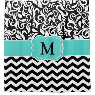 Monogram Black White Chevron Floral Damask Shower Curtain