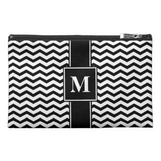 Monogram Black/White Chevron Stripe Travel Accessory Bag