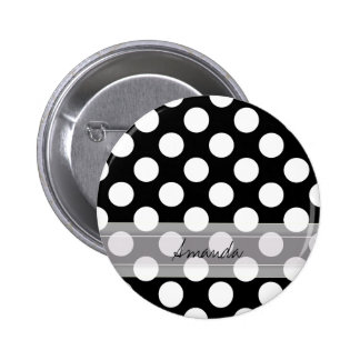 Monogram Black White Chic Polka Dot Pattern 6 Cm Round Badge
