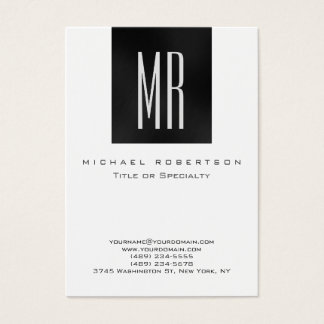 Monogram Black White Chubby Modern Business Card