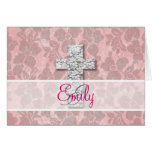Monogram Black White Cross Girly pink Floral Lace