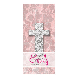 Monogram Black White Cross Girly pink Floral Lace Customized Rack Card
