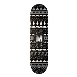 Monogram Black White Cute Animals Pattern #2 20.6 Cm Skateboard Deck