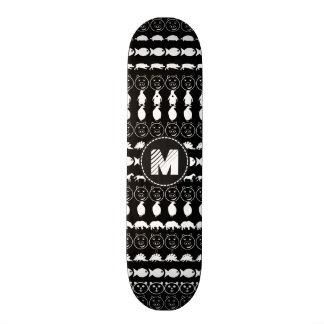 Monogram Black White Cute Animals Pattern Skate Boards