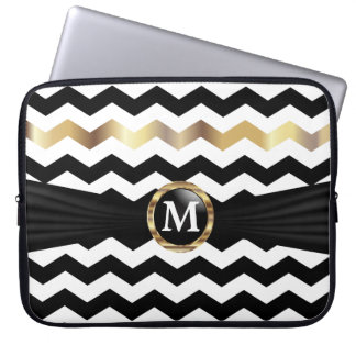 Monogram Black, White & Gold Chevron Stripes Laptop Sleeve