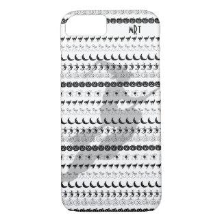 Monogram: Black/White Halloween Fun Font Art iPhone 8/7 Case