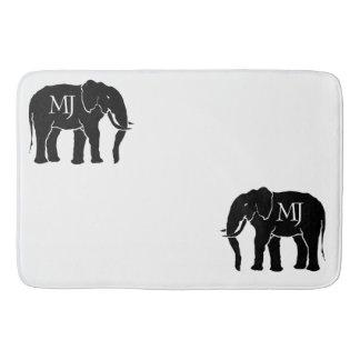 Monogram Black & White Majestic African Elephants Bath Mat
