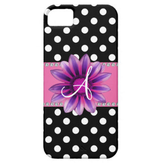 Monogram black white polka dots pink daisy iPhone 5 cover