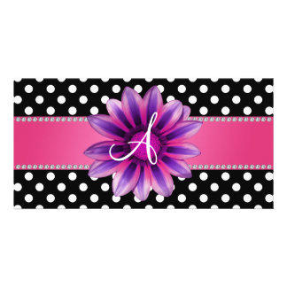 Monogram black white polka dots pink daisy picture card