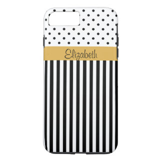 Monogram Black White Polka Dots Stripes ColorBlock iPhone 8 Plus/7 Plus Case