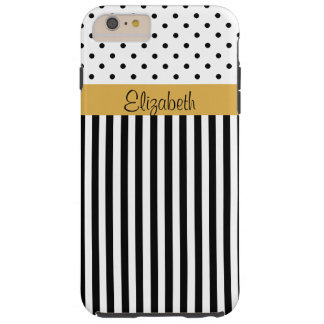 Monogram Black White Polka Dots Stripes ColorBlock Tough iPhone 6 Plus Case