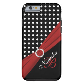 Monogram Black White Red Polka Dots iPhone 6 case Tough iPhone 6 Case