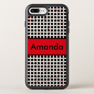 Monogram Black White Red Trendy Elegant Pattern OtterBox Symmetry iPhone 8 Plus/7 Plus Case