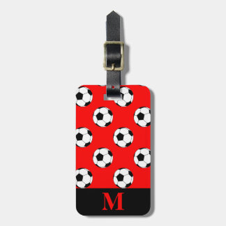 Monogram Black/White Soccer Football Balls on Red Luggage Tag