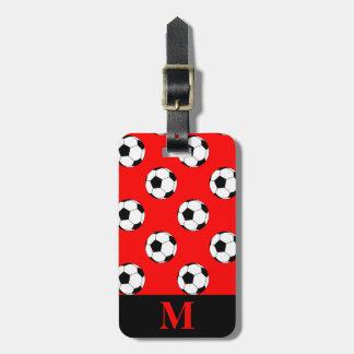 Monogram Black/White Soccer Football Balls on Red Tags For Bags