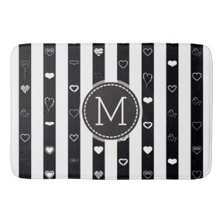 Monogram Black White Stripes Modern Heart Pattern Bath Mat