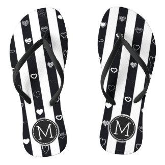 Monogram Black White Stripes Modern Heart Pattern Flip Flops