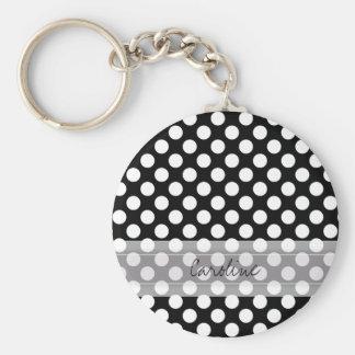 Monogram Black White Trendy Fun Polka Dot Pattern Basic Round Button Key Ring