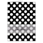 Monogram Black White Trendy Fun Polka Dot Pattern Note Card