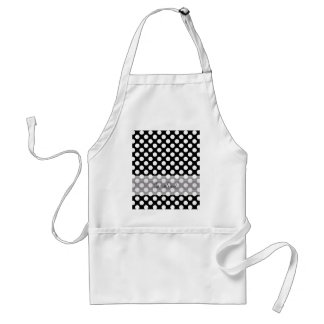 Monogram Black White Trendy Fun Polka Dot Pattern Standard Apron