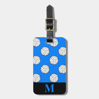 Monogram Black White Volleyball Balls, Azure Blue Luggage Tag