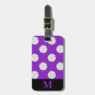 Monogram Black White Volleyball Balls, Purple Luggage Tag