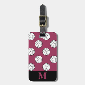 Monogram Black White Volleyball Balls Sangria Pink Luggage Tag