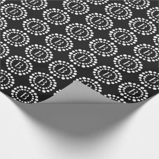 Monogram Black Wrapping Paper