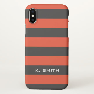 Monogram. Blackish Gray  and Orange-y Stripes. iPhone X Case