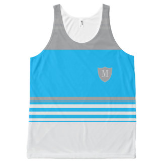 Monogram Blue and grey striped All-Over Print Tank Top