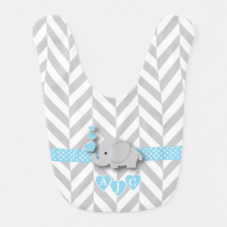 Monogram Blue And White Chevron Baby Elephant Bib