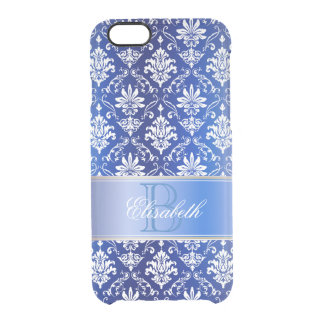 Monogram Blue and White Damask Clear iPhone 6/6S Case