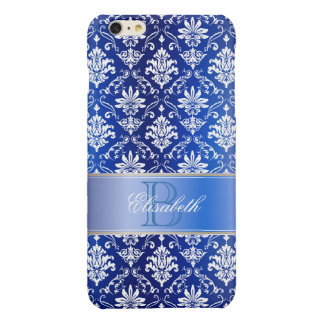 Monogram Blue and White Damask iPhone 6 Plus Case