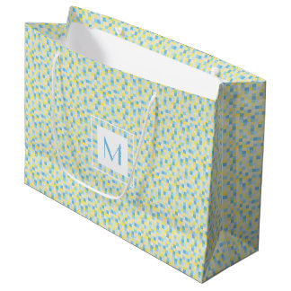 Monogram Blue and Yellow Squares Large Gift Bag
