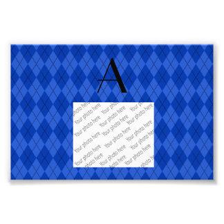 Monogram blue argyle photo print