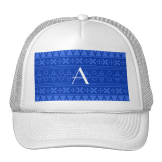 Monogram blue aztec pattern trucker hats