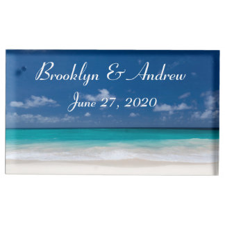 Monogram Blue Beach Wedding Place Card Holders