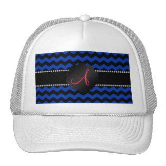 Monogram blue black chevrons cap