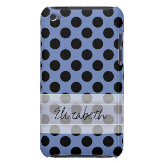 Monogram Blue Black Cute Chic Polka Dot Pattern iPod Touch Cases