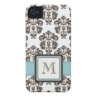 Monogram Blue Brown Damask iPhone 4 4s Case-Mate C