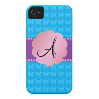 Monogram blue butterflies iPhone 4 cover