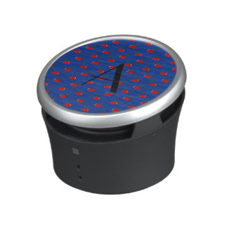 Monogram blue cherry pattern bluetooth speaker
