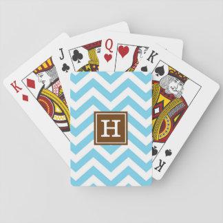 Monogram Blue Chevron Playing Cards