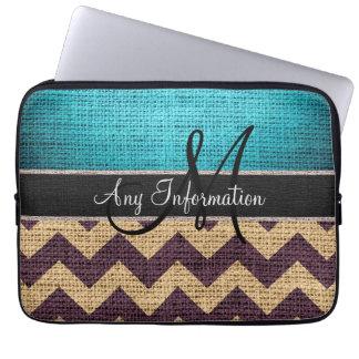 Monogram Blue Chevron Zigzag Burlap Jute Laptop Sleeves
