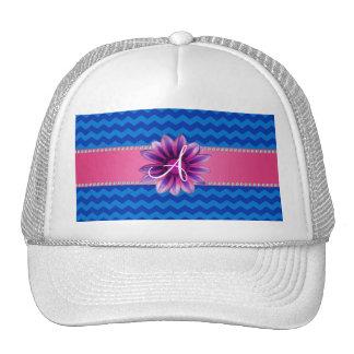 Monogram blue chevrons pink daisy cap