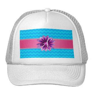 Monogram blue chevrons pink daisy mesh hat