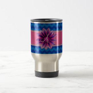 Monogram blue chevrons pink daisy mug