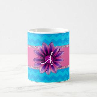 Monogram blue chevrons pink daisy coffee mug
