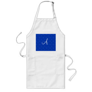 Monogram blue christmas stars snowflakes long apron